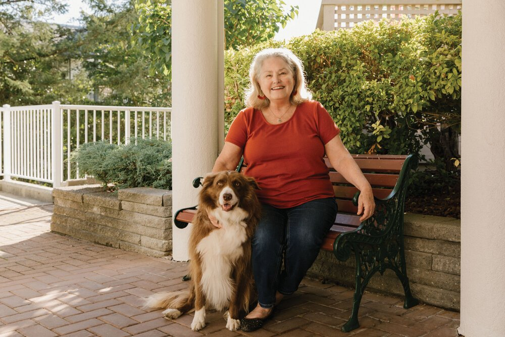 Myrna Norman with her dog, Norman. Photo by Lindsay Elliott.