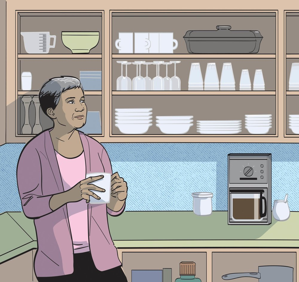 Remove cabinet doors in the kitchen to increase accessibility. Illustrations by Remy Geoffroi.