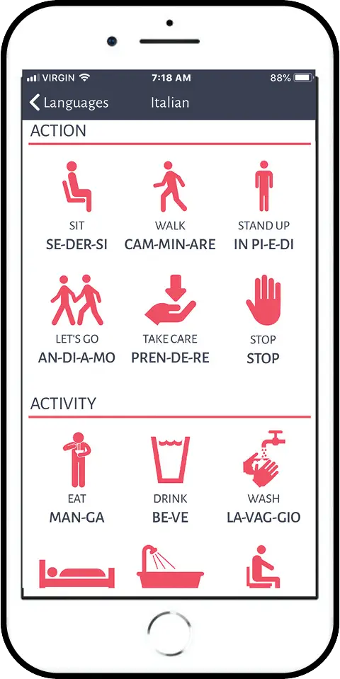 Screen shot of the CareLingo app. Simply point, touch an icon and the word is spoken in the person's language. Screenshot courtesy uCarenet.