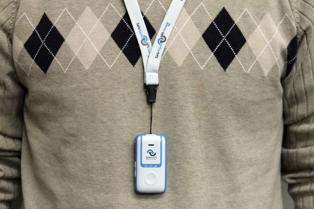 The GPS locator device canalso be worn around the neck.