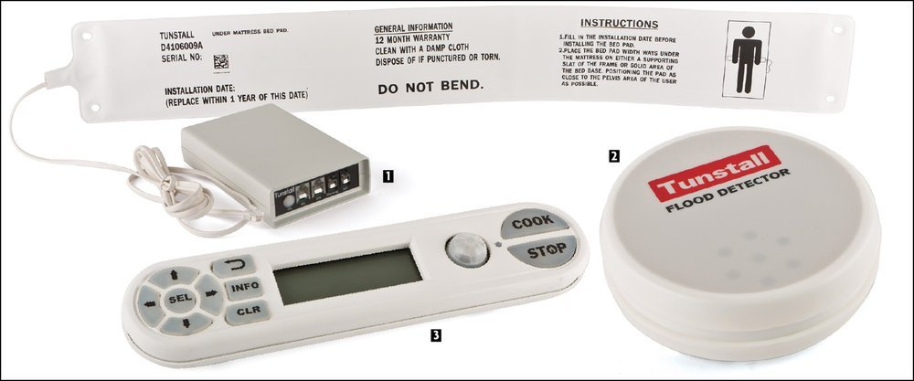 A selection of Good Samaritan TeleCare products:  1.  Bed occupancy sensor;  2.  Flood detector;  3.  CookStop monitor.  Photo courtesy Good Samaritan TeleCare Monitoring Products
