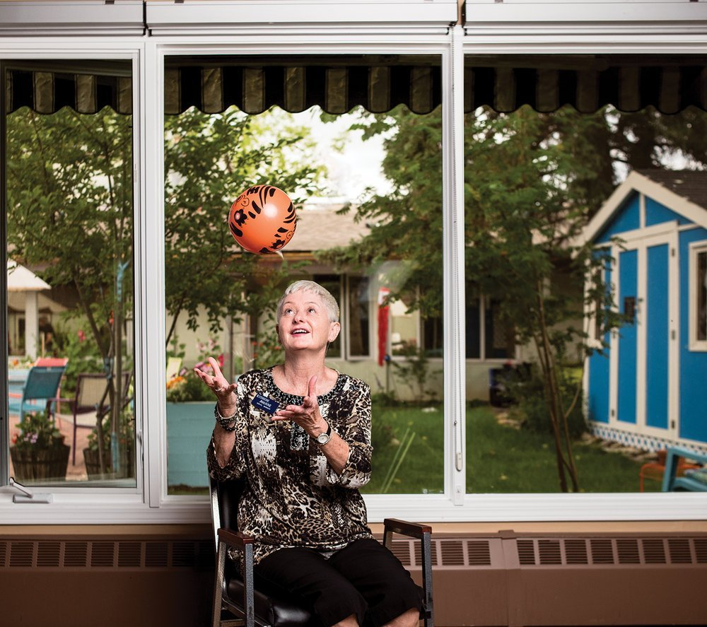 Joanne Morcom leads laughter yoga sessions at Extendicare Cedars Villa in Calgary. Photo by Jared Sych.