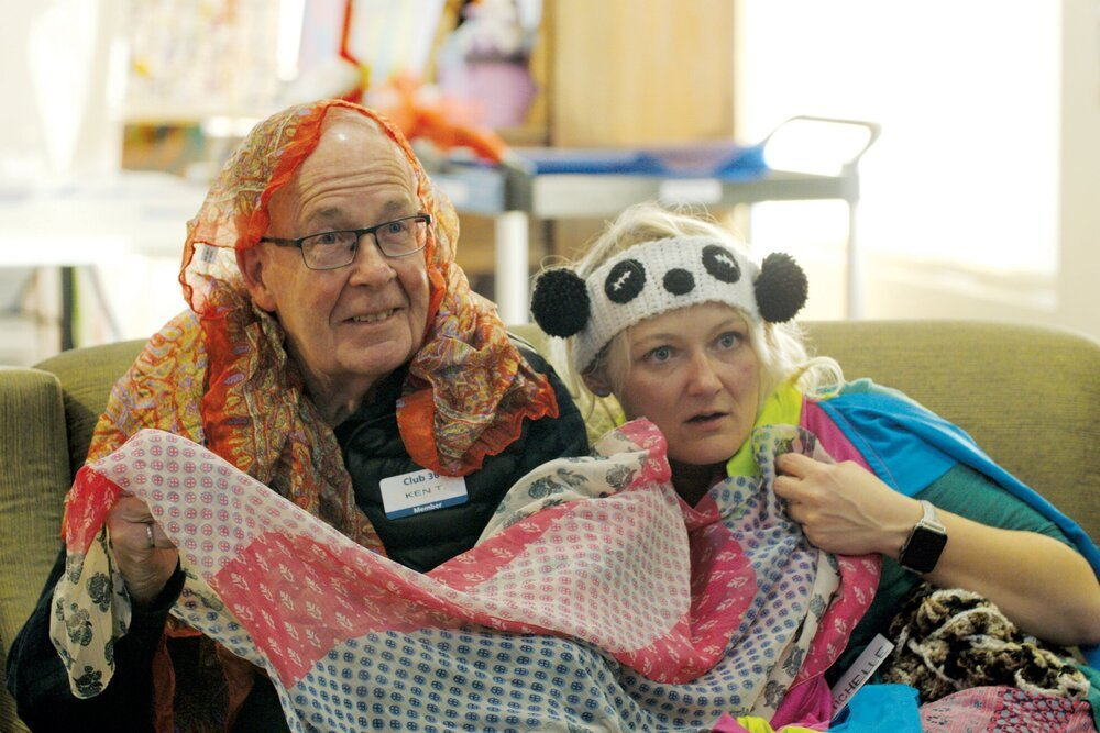 Participants explore the risk-free, playful and hilarious environment created by Inside Out Theatre's improvisation program, Village Improv for Alzheimer's.