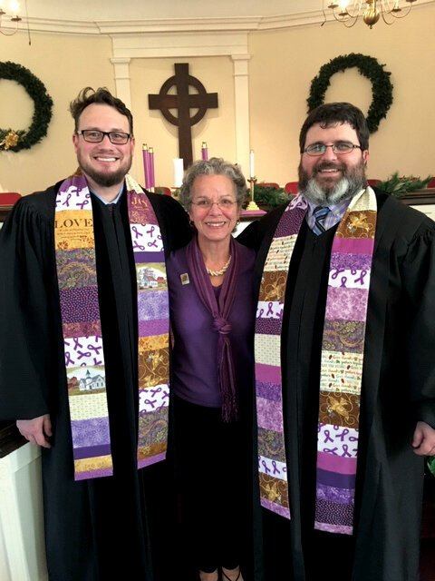 Examples of garments from the Alzheimer's stole ministry and tallit initiative. Photo courtesy Lynda Everman.